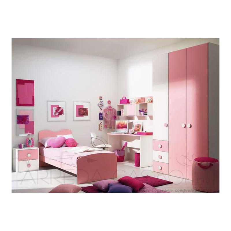 II Cameretta bambina armadio scrivania rosa Marika