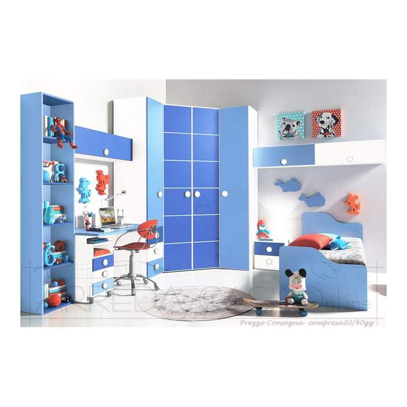 II Cameretta bambini cabina armadio azzurro blu Leo