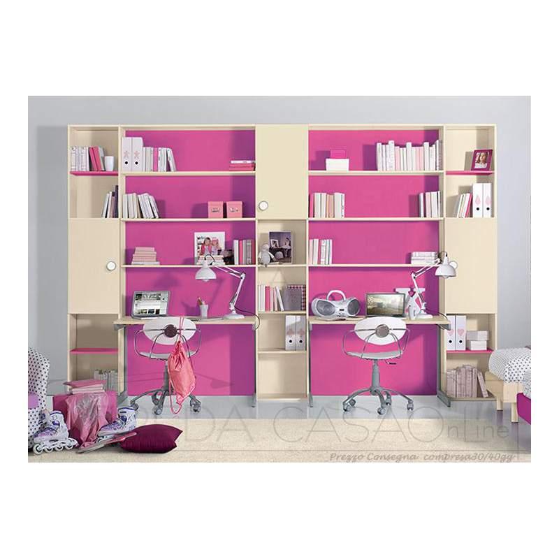 II Libreria cameretta bambini doppia scrivania GT0015LIB