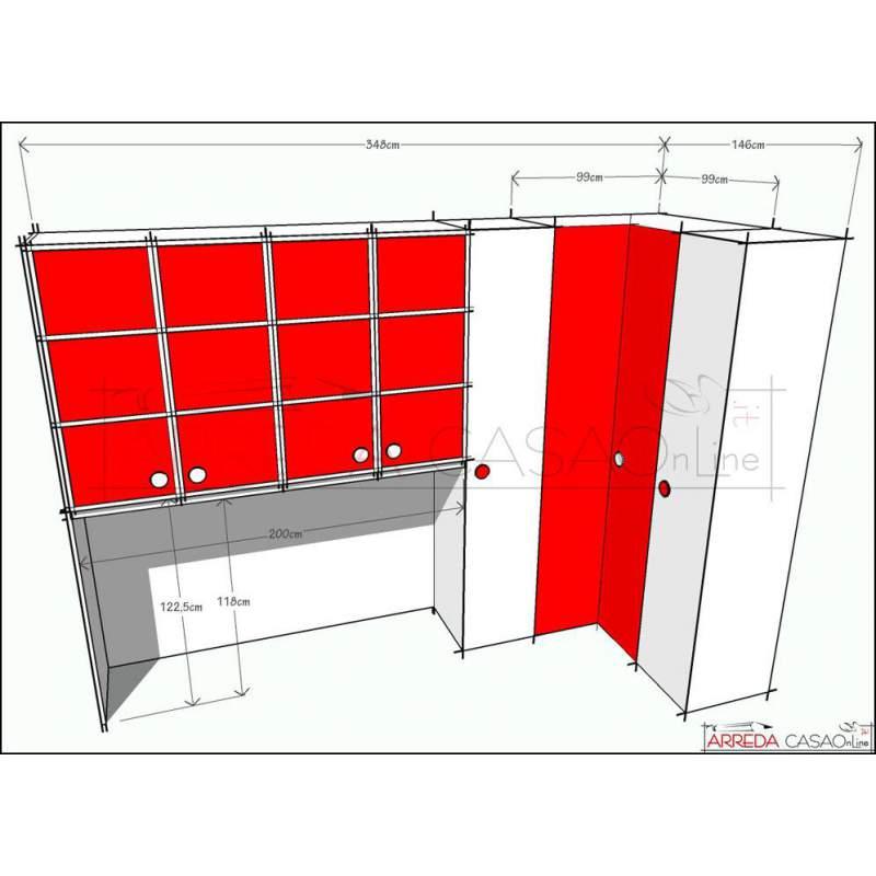 II Cameretta soluzione su misura a ponte e armadio
