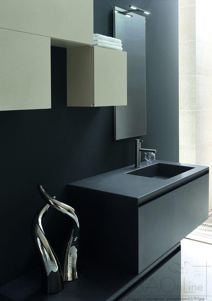 Mobile Arredo Bagno moderno laminam nero perla Zer10  eBay
