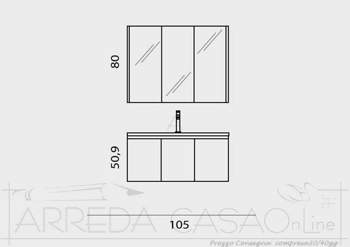 Mobile Bagno economico specchiera contenitore Grigio Go04