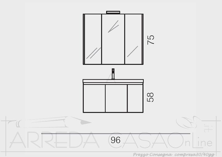 Mobile Bagno economico specchiera contenitore Go11