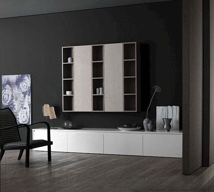 II Mobile soggiorno salotto bianco lucido canapa juta Ink