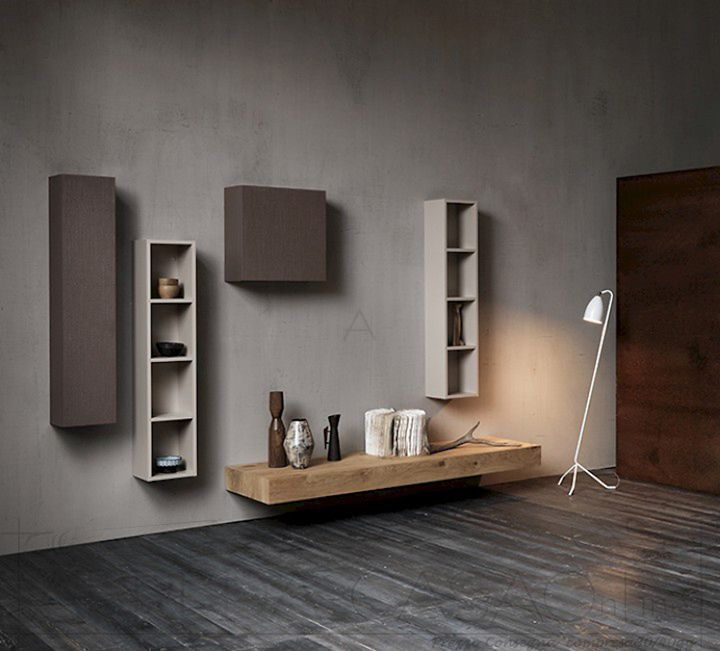 Mobile soggiorno salotto con piano legno rovere sospeso