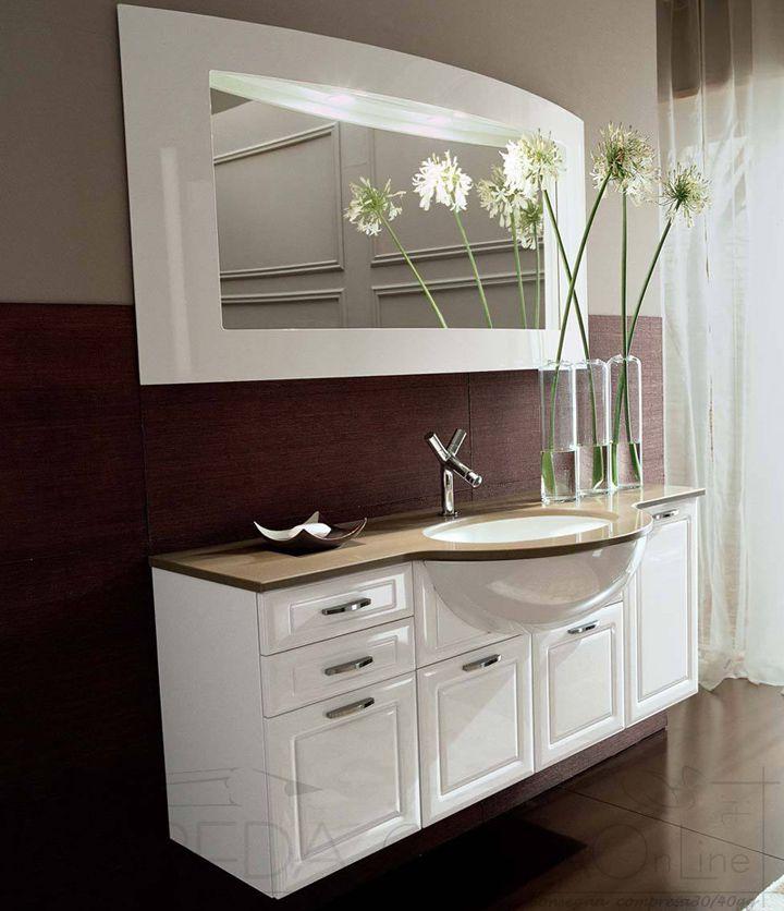 II Mobile Bagno tradizionale sospeso top marmo CIGNO K26