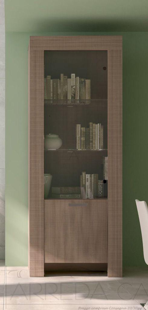 II Mobile vetrina libreria soggiorno pranzo legno Olmo
