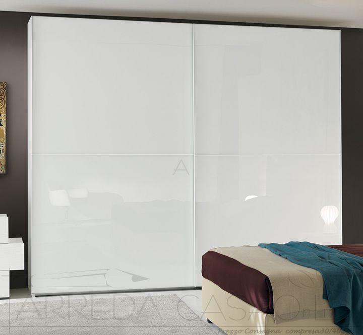 II Armadio scorrevole frassino vetro bianco per camera
