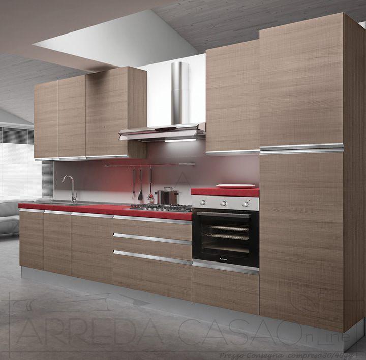 II Cucina componibile completa con top rosso maniglia