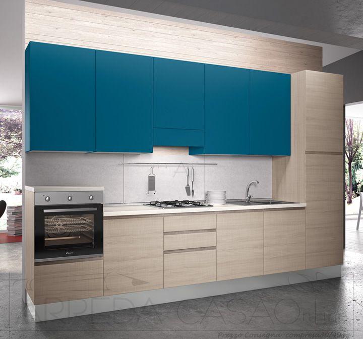Cucina componibile moderna pensili azzurri Sesamo