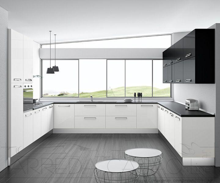 II Cucina componibile angolare 3 lati bianco nero Zafferano k0036  Cucine Valentini Cucinando
