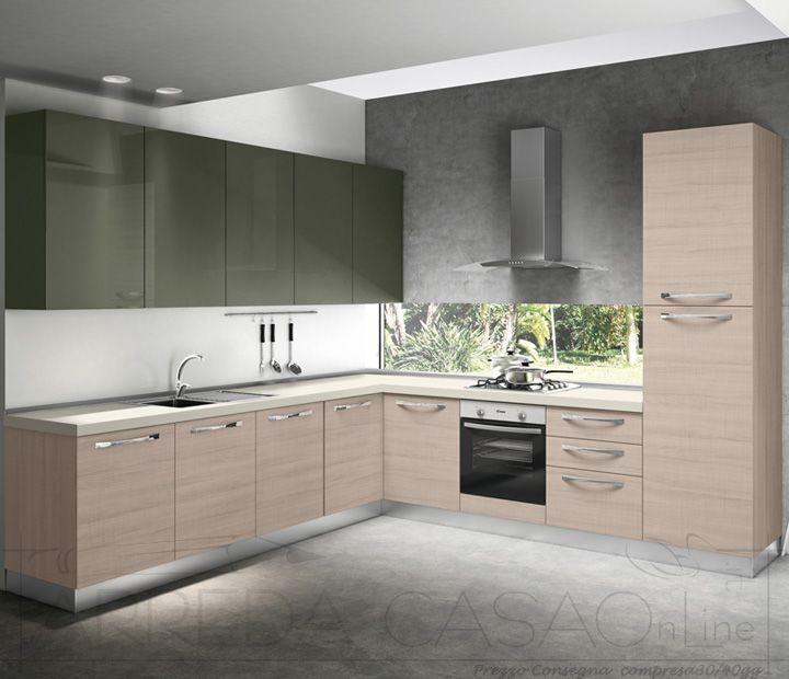 II Cucina angolare legno chiaro verde oliva Zenzero
