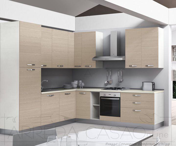 II Cucina angolare componibile frassino bianco visone Zenzero k0039  Cucine Valentini
