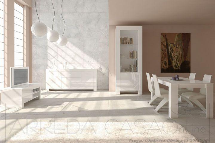 II Mobili soggiorno salotto completo laccato bianco