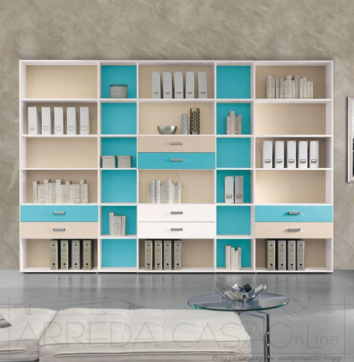 II Libreria per ufficio componibile turchese avorio