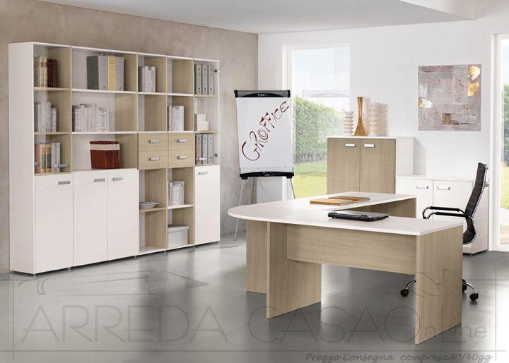 Mobili per ufficio completo componibili legno chiaro frassino bianco U00034  eBay