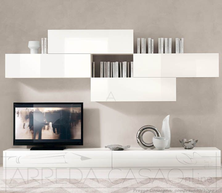 II Mobile soggiorno laccato bianco lucido Domino S39010  Mobili Soggiorno  Prezzi Offerte