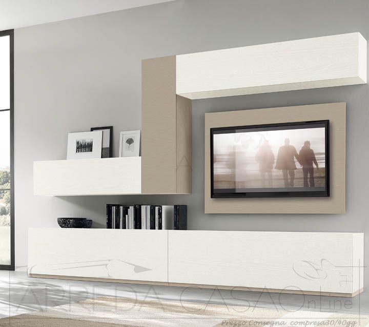 Mobile soggiorno parete attrezzata frassino bianco visone