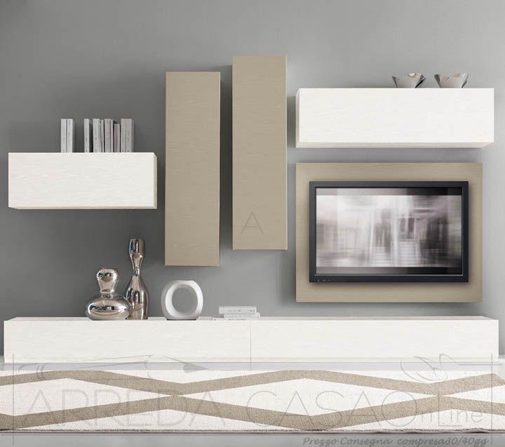 II Mobile soggiorno porta tv frassino bianco visone
