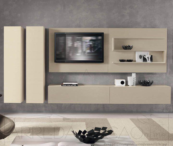 II Mobile soggiorno moderno frassino avorio visone Domino