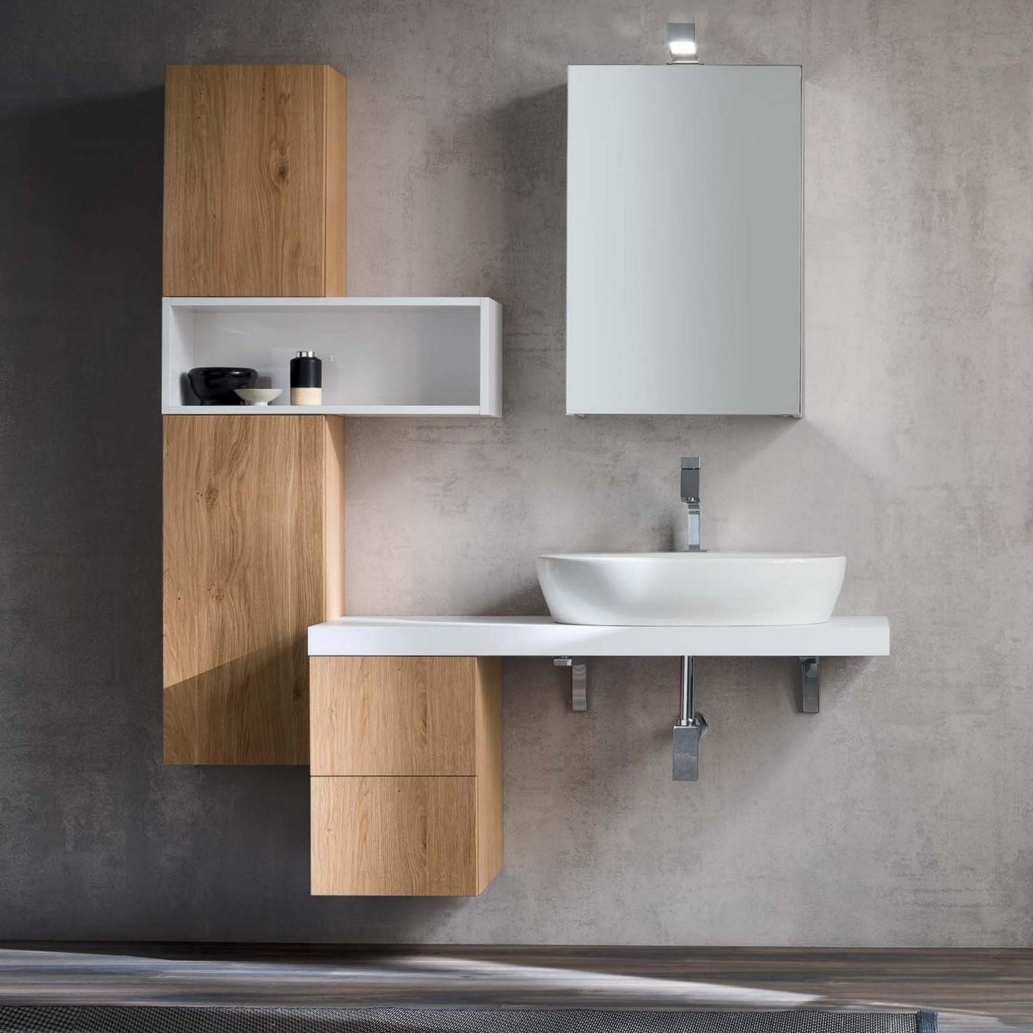 Idee  Mobile bagno moderno una mensola per il lavabo  ARREDACLICK