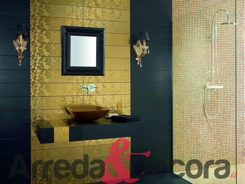 Mosaico in vetro effetto oro mod cayman champagne