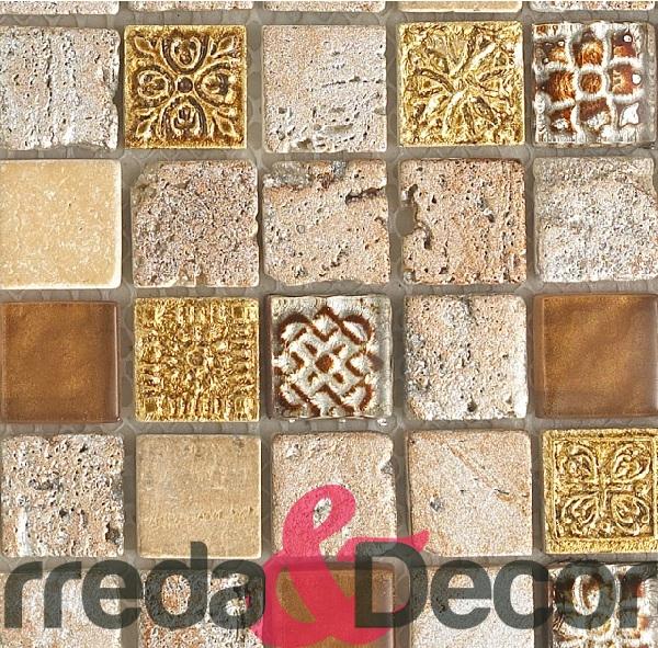 Mosaico in pietra serie Impero mod oro