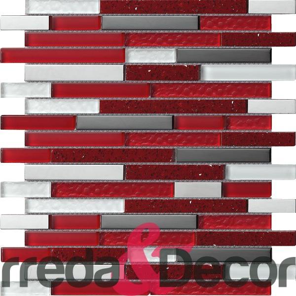 Mosaico Quartz in mix Agglomerato rosso