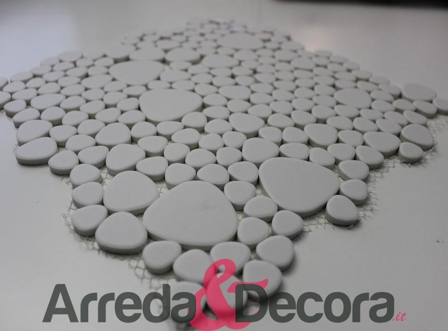 Mosaico a ciottoli in ceramica non smaltato antiscivolo bianco