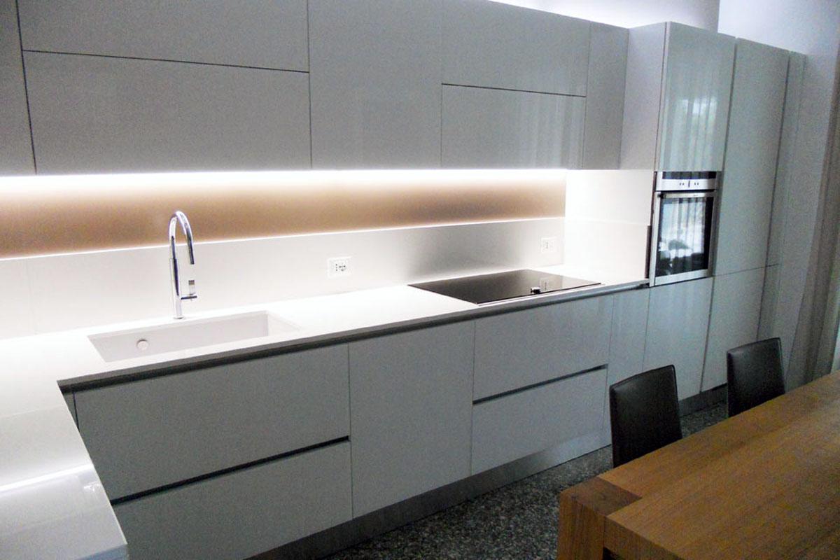 Cucina Vetro Bianco Lucido  Arredamenti Barin