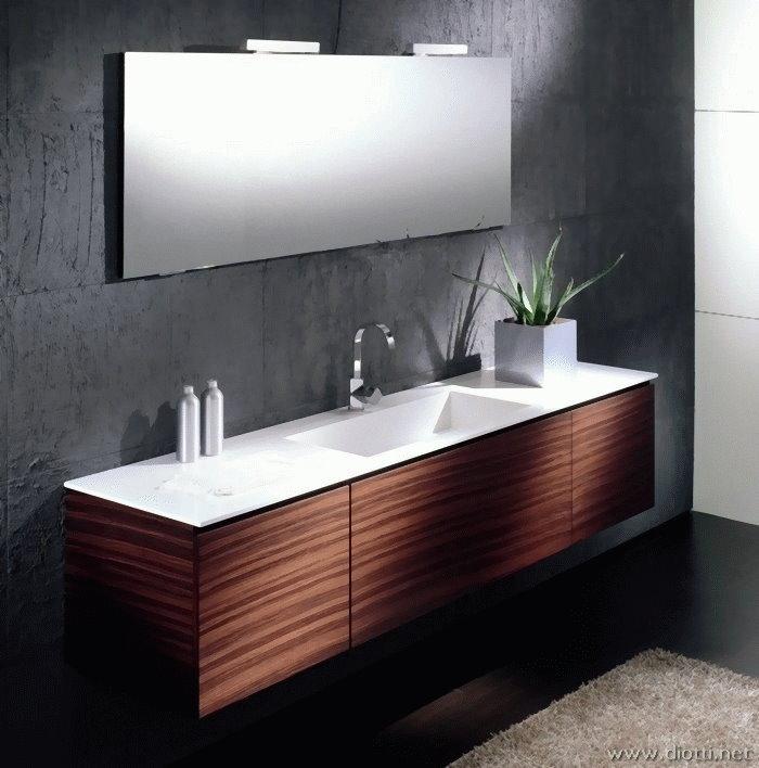 Arredobagno in palissandro con lavabo in marmo Cardoso