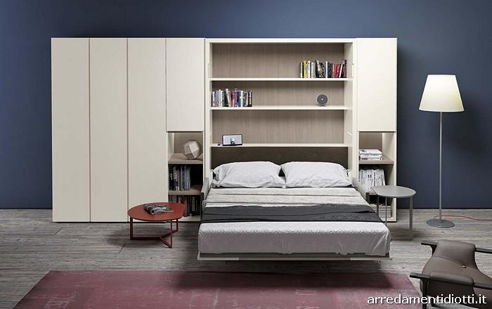 Sistema caratterizzato dalla possibilit di avere un divano che scompare sotto ad un vero letto