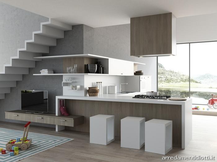 Cucina moderna sospesa con living Easy 13  DIOTTI AF