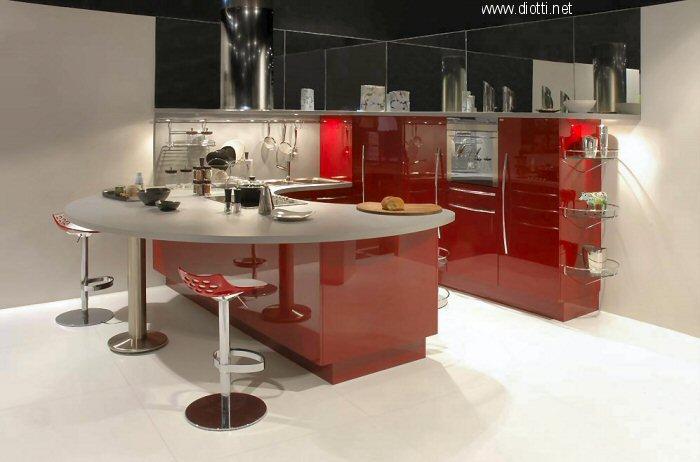 Skyline cucina laccato rossa lucida Snaidero Cucine design Lucci e Orlandini Jam sgabelli Calligaris