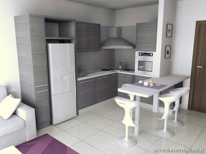Cucina Quadra rovere e Soggiorno Lampo lucido  DIOTTI AF Arredamenti