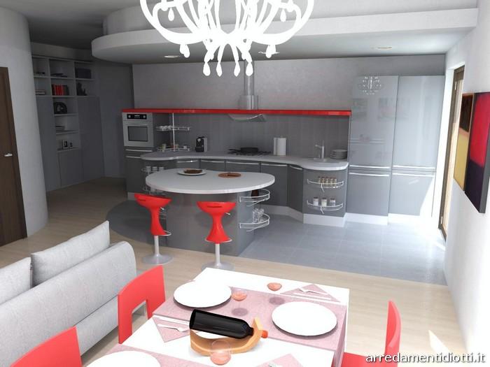 Cucina Skyline e Soggiorno Lampo grigio rosso  DIOTTI AF