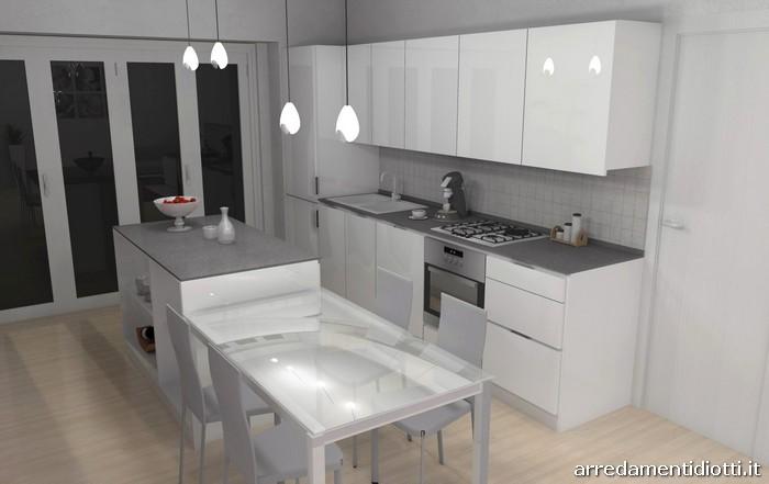 Cucina Orange e soggiorno Lampo bianco lucido  DIOTTI AF Arredamenti