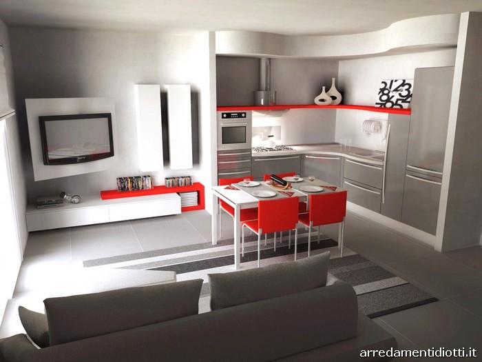 Cucina Skyline e soggiorno Link con porta tv  DIOTTI AF Arredamenti