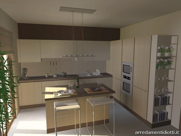 Cucina moderna con isola e living Sfera e Side System