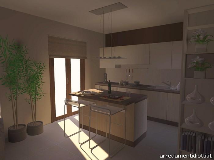 Cucina moderna con isola e living Sfera e Side System  DIOTTI AF Arredamenti