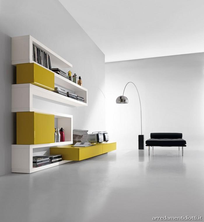 Libreria Creative Side soggiorno bianco senape  DIOTTI A