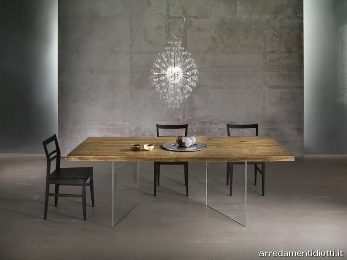 Tavoli in massello con basamento in vetro  DIOTTI AF