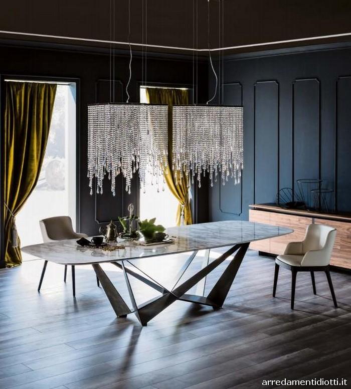 Tavolo base acciaio piano vetro legno o marmo Skorpio
