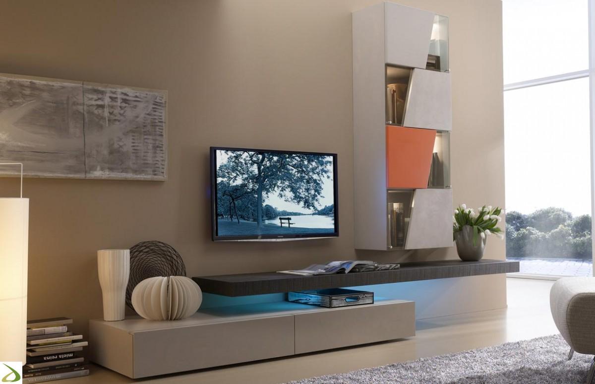 Parete attrezzata legno pietra modulart; Arredamenti Milani Arredamento Soggiorno Moderno Design