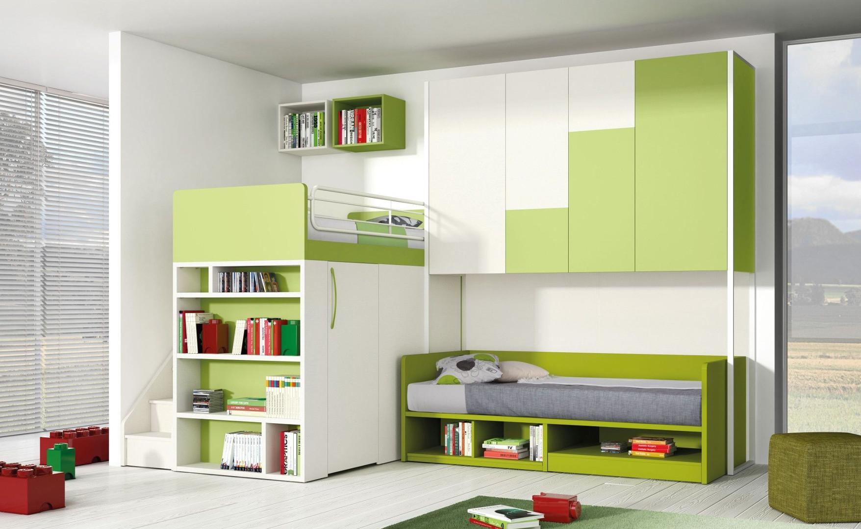 Cameretta spaziosa verde per due bambini