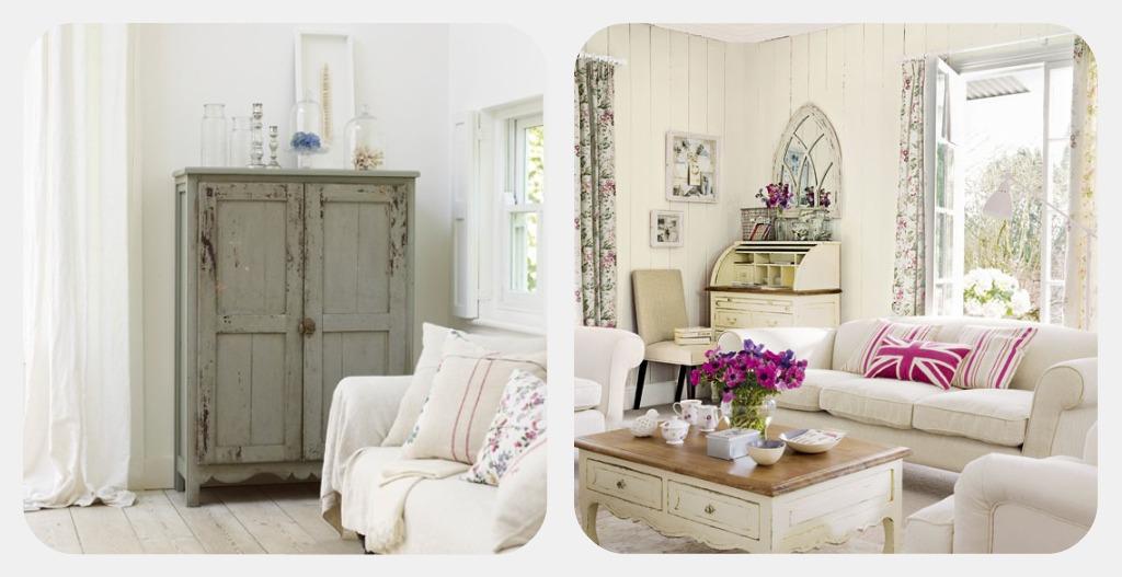 arredamento shabby chic soggiorno retro elegante bianco