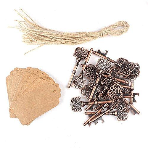 Awtlife, 50chiavi effetto anticato per bomboniere, apribottiglie a forma di chiave con etichetta in carta per feste con decorazioni rustiche