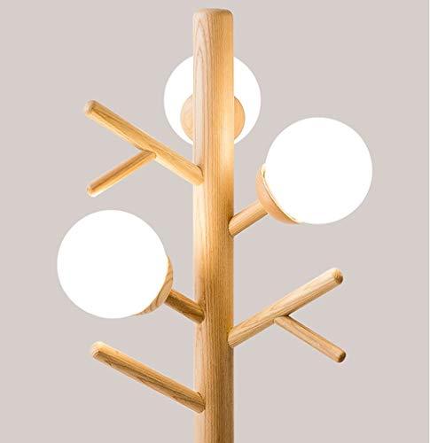 Home mall- Lampada da terra in legno postmoderno | Lampada da terra con appendiabiti per camera da letto altezza: 155 cm
