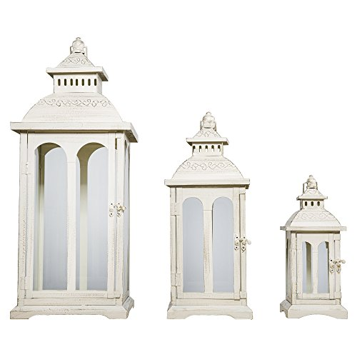 Lanterna COUNTRY bianco crema in metallo con rotondo arco finestre, Alle drei Größen