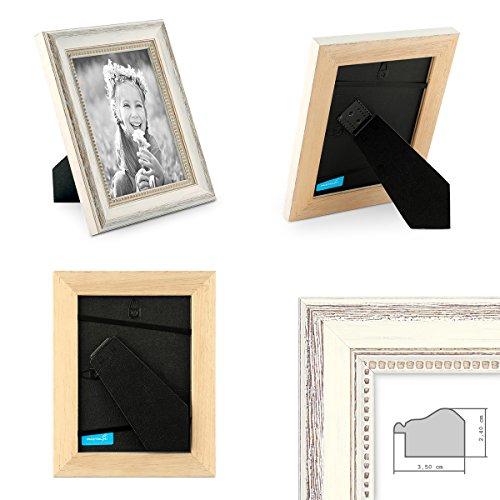 Photolini Set da 2 cornici in stile country bianco da 15x20 cm